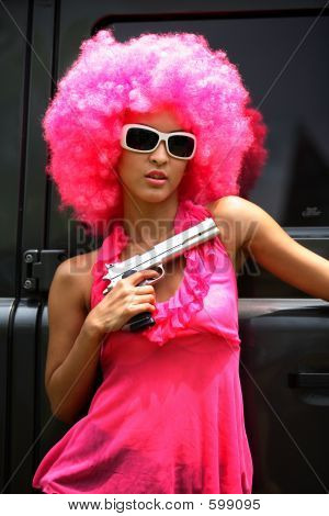 Funky Woman With A Gun