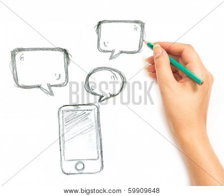 Woman's Hand Draws Phone And Messages On White