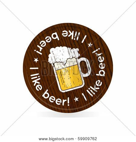 wooden badge for beer fans