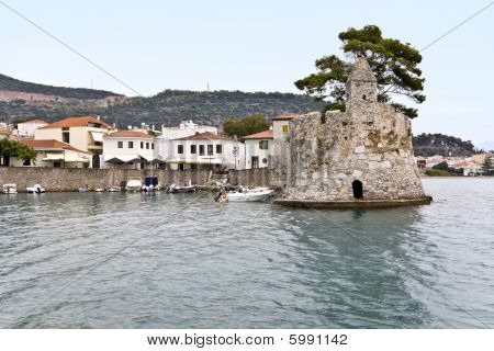 Scenic fishing port of Nafpaktos city in Greece