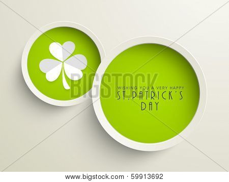 Happy St. Patrick's Day celebration poster, banner or flyer with sticker, tag or label with clover leaves on grey background.