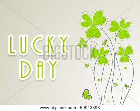 Happy St. Patrick's Day celebration poster, banner or flyer with clover leafs on grey background.