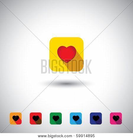 Vector Icon - Flat Design Red Color Love & Heart Symbols.