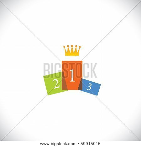 Abstract Colorful Podium Icon With Crown - Success Vector Concept