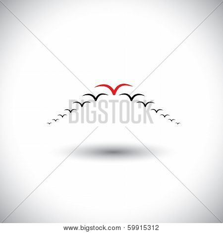 Leadership Concept Vector - Birds Flying Forming An Arrow