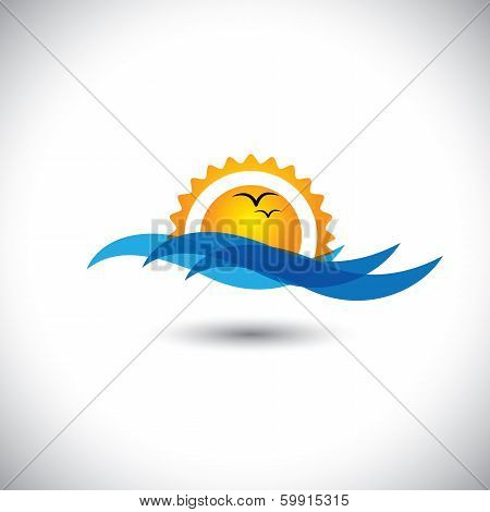 Ocean Concept Vector - Beautiful Morning Sunrise, Waves & Birds