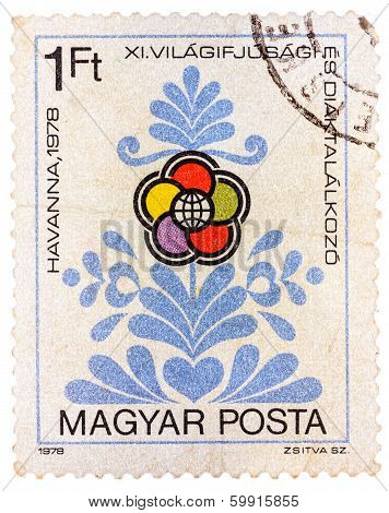 Stamp Printed In Hungary Shows Congress Emblem As Flower