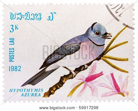 Stamp Printed In Laos Shows Black-naped Monarch,(hypothymis Azurea), From Series Birds