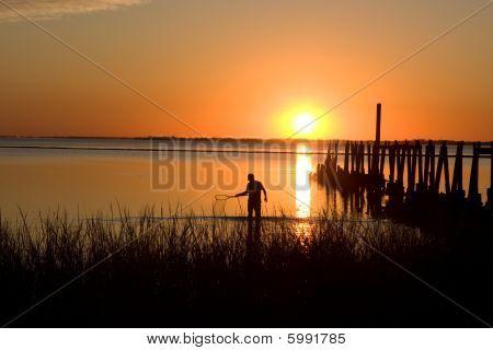 Crabbing At Sunset