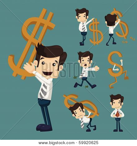 Set Of Businessman With Dollar Sign Characters Poses