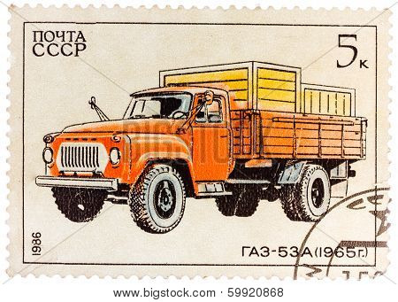 Stamp Printed In Russia, Shows Retro Truck