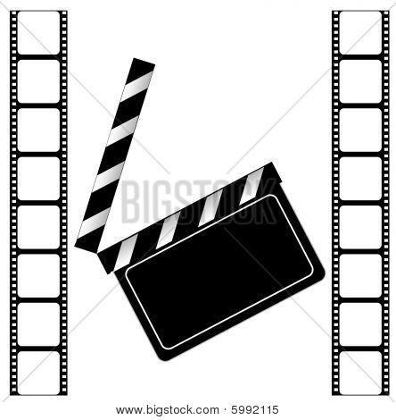 Clapper board and Film frame on a white background
