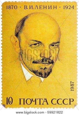Stamp Printed In Russia Shows Portrait Of Vladimir Ilyich Lenin, Circa 1987
