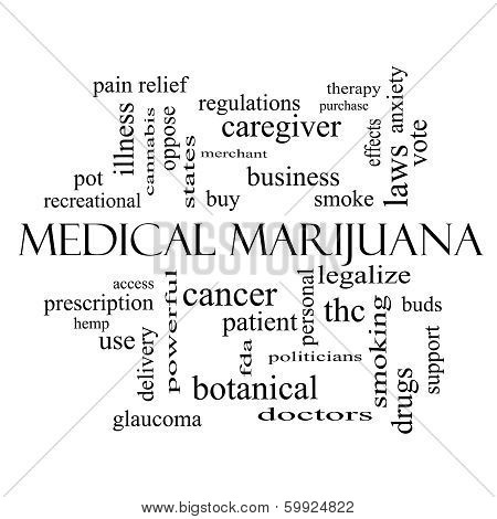 Medical Marijuana Word Cloud Concept In Black And White
