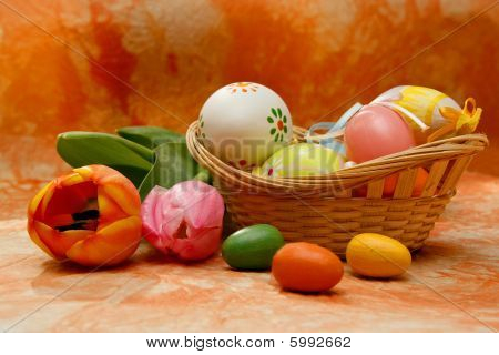 Easter Composition With Tulips And Easter Eggs