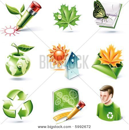 Vector cartoon style icon set. Part 7. Ecology