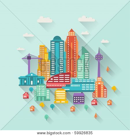 Cityscape illustration with buildings in flat design style.