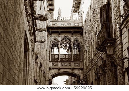 Gothic quarter in Barcelona Spain,