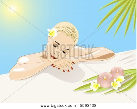 resting girl in swimming pool