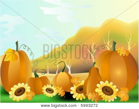 autumn pumpkins with leaves