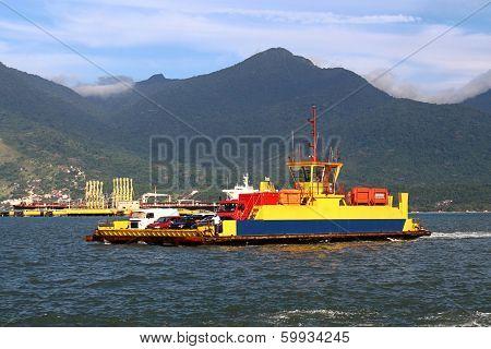 Ferryboat crossing the ocean - Ilhabela - Brazil