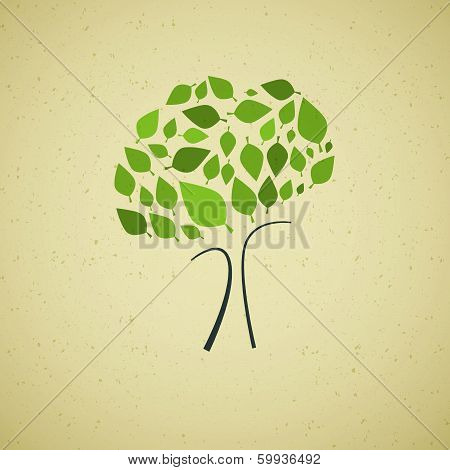 Abstract Green Tree on Recycled Paper Background