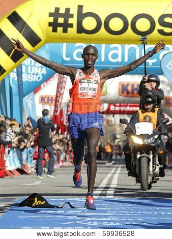 BARCELONA - FEB,2: Kenyan Wilson Kipsang, Current world record holder, finishing Granollers Half Marathon at Granollers on February 2, 2014 in Barcelona, Spain