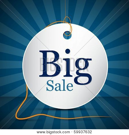 Retro Vector Big Sale Label, Sticker with String on Blue Background