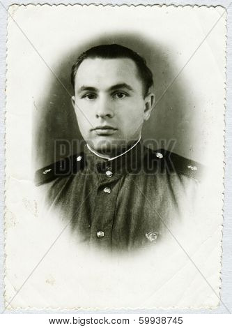 KURSK, USSR - CIRCA 1970s: An antique photo shows studio portrait of a Red Army soldiers.