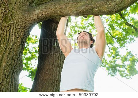 Young man exercising chins or pull ups in City Park under summer trees for sport fitness