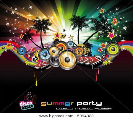 Tropical Background For Music Flyers with high contrast colours