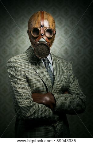 Vintage Businessman Wearing Gas Mask