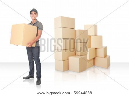 Smiling Young Delivery Man With Cardbox Package