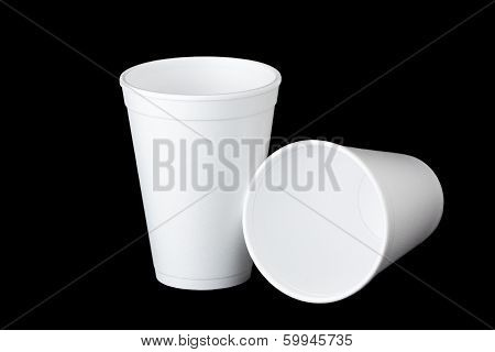 Two Styrofoam Cups On Black