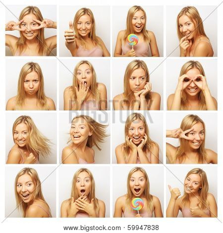Collage of the same woman making diferent expressions. Studio shot.