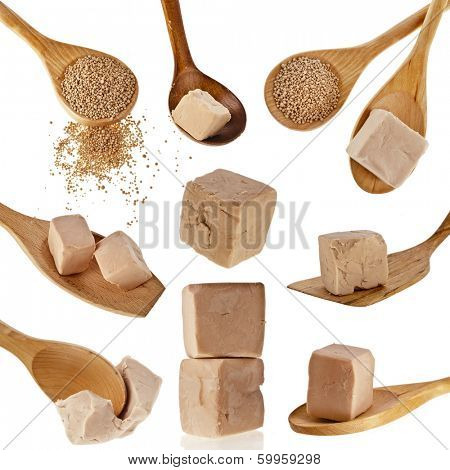 Collection of Fresh and dry yeast in wooden spoon isolated on white background