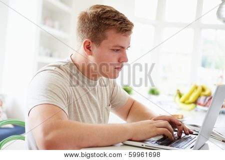 Teenage Boy Studying On Laptop At Home
