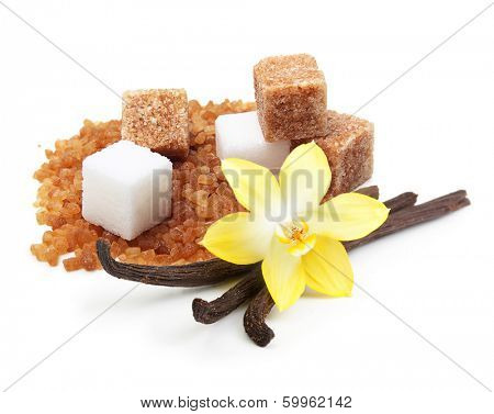 Brown and white cane sugar cubes, vanilla pods and orchid flower isolated