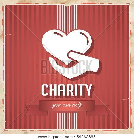 Charity on Red Striped Background in Flat Design.