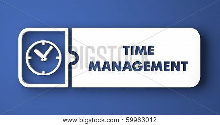 Time Management on Blue in Flat Design Style.
