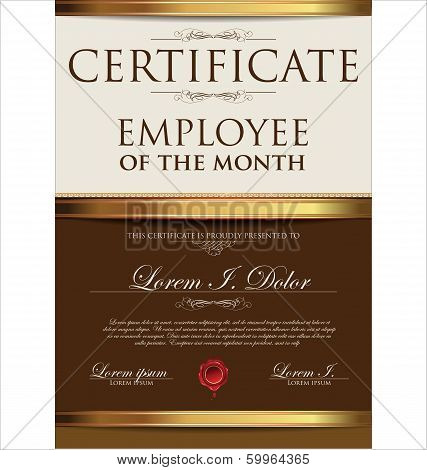 Certificate Template, Employee Of The Year vector