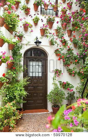 Spring and Easter Flowers Decoration of Old House, Spain, Cordoba, European town