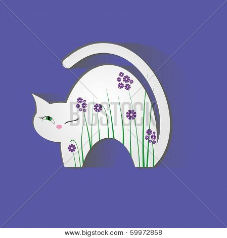 Cat Animal Nature Illustration Background  Flowers