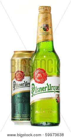Bottle And Can Of Pilsner Urquell Beer Isolated On White