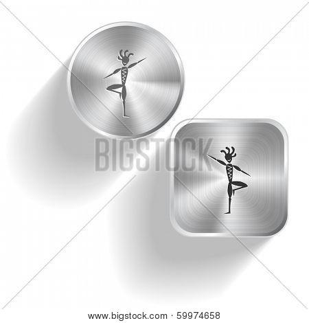 Ethnic little man as yogi. Raster set steel buttons