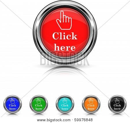 Click Here Icon - Six Colors Vector Set