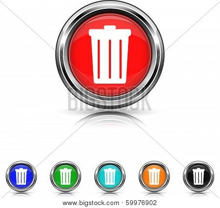 Bin Icon - Six Colors Vector Set