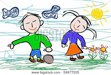 Kids Drawing Style Of Boy And Girl