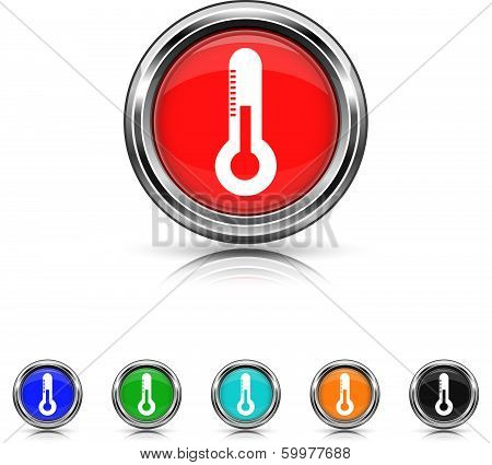 Thermometer Icon - Six Colors Vector Set