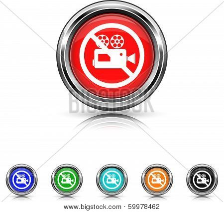 Forbidden Video Camera Icon - Six Colors Vector Set